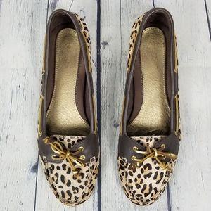 SPERRY | leopard print calf hair boat shoe flats